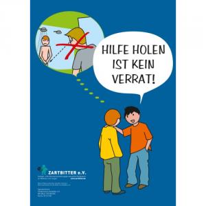 """Plakat """"Hilfe holen ist kein Verrat – für Jungen"""""""