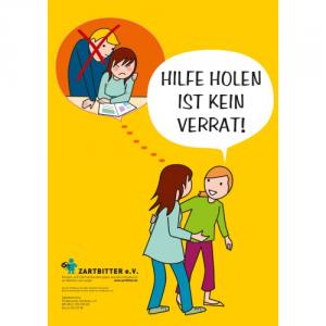 """Plakat """"Hilfe holen ist kein Verrat – für Mädchen"""""""