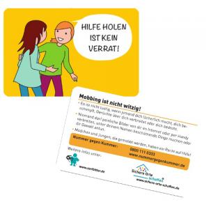 Hilfe holen ist kein Verrat! Notfallkärtchen für Mädchen